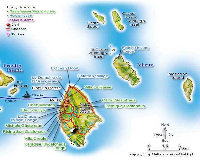 Karte Seychellen.Gellwien Tours Seychellen Karte La Digue Lage Hotels