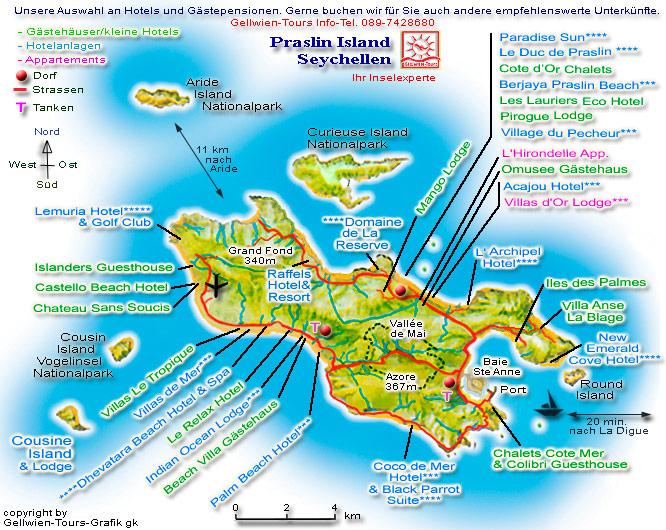 Karte Seychellen.Gellwien Tours Seychellen Reisen Karte Praslin Hotels Und